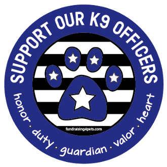 Support Our K9 Officers circle magnet - blue *NEW*