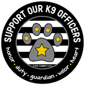 Support Our K9 Officers circle magnet - black *NEW*