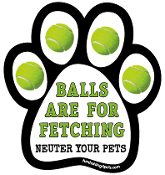 Balls Are for Fetching - Neuter Your Pets paw magnet *NEW*