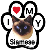 I Love My Siamese Paw Magnet - NEW!