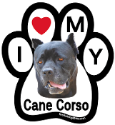 I Love My Cane Corso Paw Magnet (cropped ears) - NEW!