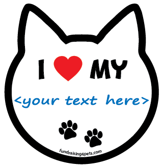"""I ♥ My <......>"" Cat Head Magnet - create your own! *NEW*"